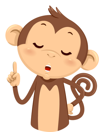 Mascot Illustration of a Cute Monkey Using His Fingers to Gesture the Number One Stock Photo
