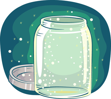 firefly: Animal Illustration Featuring an Open Glass Jar Filled with Tiny Fireflies Stock Photo