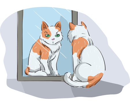 look in mirror: Animal Illustration Featuring a Cat Looking at its Reflection on the Mirror