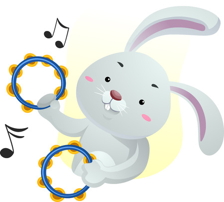 Animal Mascot Illustration Featuring a Cute Rabbit Playing with Tambourines Stock Photo
