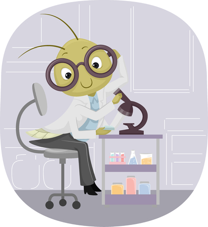 specimen: Animal Mascot Illustration Featuring a Cricket Observing a Specimen Under a Microscope