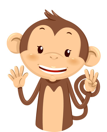 Mascot Illustration of a Cute Monkey Using His Fingers to Gesture the Number Eight Stock Photo