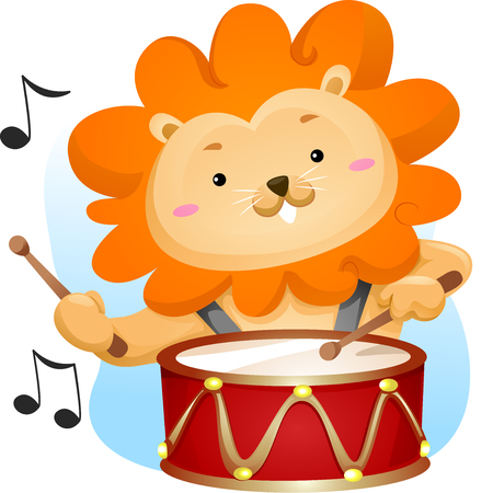 Animal Mascot Illustration Featuring a Cute Male Lion Playing with a Lyre Drum Stock Photo