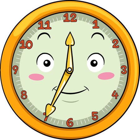 anthropomorphism: Mascot Illustration of a Smiling Clock with its Hands Pointing to the Numbers Twelve and Seven Stock Photo