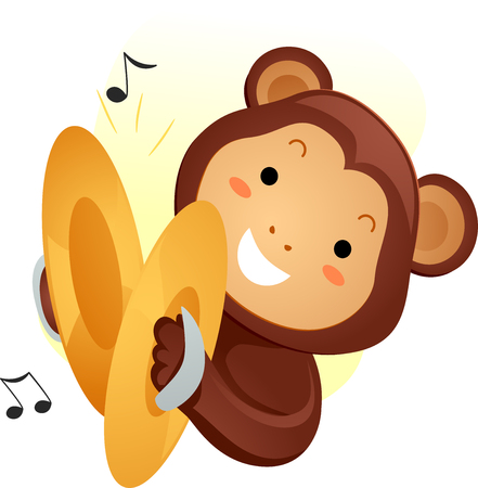 Animal Mascot Illustration Featuring a Cute Monkey Playing with Cymbals Stock Photo