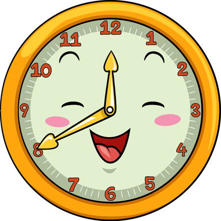 after school: Mascot Illustration of a Smiling Clock with its Hands Pointing to the Numbers Twelve and Eight