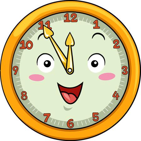 Maskotka ilustracja uśmiechnięta Zegar z jego rąk wskazując na numery Dwunastu jedenaście Zdjęcie Seryjne