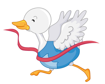 Animal Mascot Illustration Featuring a Happy White Duck Breaking Through the Race Tape Stock Photo