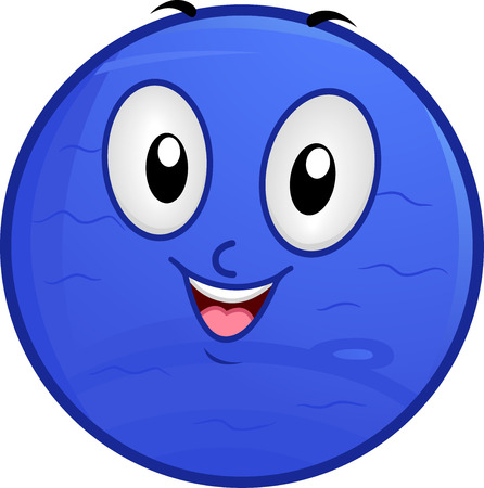 amoníaco: Illustration of a Neptune Mascot Featuring a Smiling Blue Planet with a Watery Surface