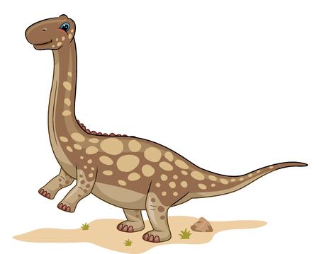 Animal Illustration Featuring a Cute Argentinosaurus Roaming Around the Desert Stock Photo