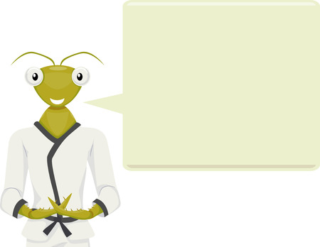 anthropomorphism: Mascot Illustration of a Praying Mantis in a Karate Costume and Meditation Pose with a Large Speech Bubble Beside It