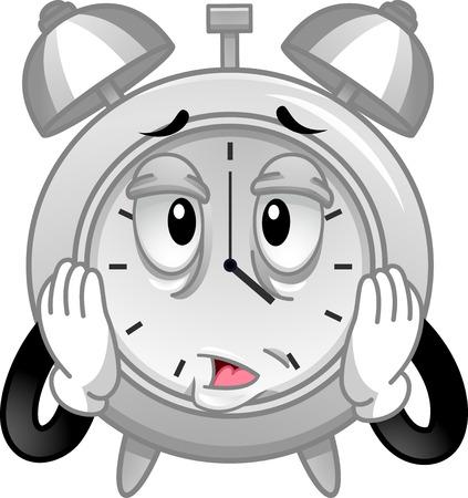 마스코트 스트레스를받은 아날로그 알람 시계 그림 박치기에 자사의 얼굴을 마시고 스톡 콘텐츠