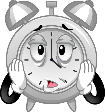 Mascot Illustration of a Stressed Analog Alarm Clock Cupping its Face in Exasperation
