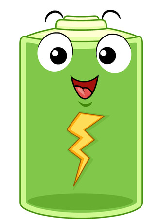 Mascot Illustration of a Happy Battery Pack Regaining its Energy After Being Recharged Stock Photo