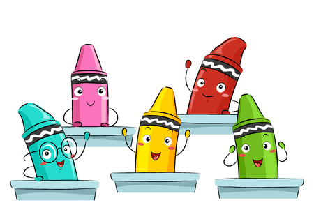 attending: Colorful Mascot Illustration Featuring Primary Color Crayons Attending Class Together