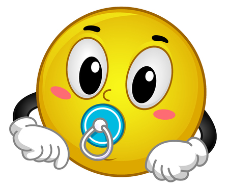 wean: Mascot Illustration of a Cute and Happy Baby Smiley Sucking a Pacifier