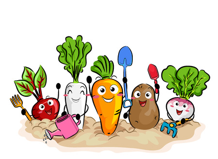 Colorful Illustration Featuring Happy Vegetables Using Different Gardening Tools