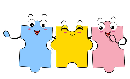 Mascot Illustration of Jigsaw Puzzle Pieces of Different Shapes Hanging Together
