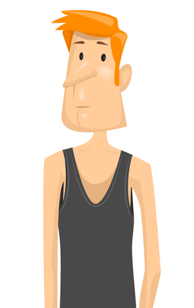 inability: Fitness Illustration Featuring a Sad Skinny Man in a Black Tank Top Disappointed Over His Inability to Gain Weight Stock Photo