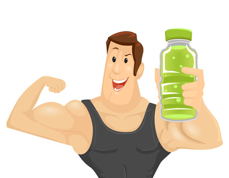 energy drink: Fitness Illustration of a Muscular Man in a Tank Top Holding a Bottle of Energy Drink While Flexing His Bicep