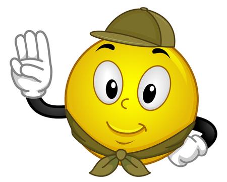 Mascot Illustration eines glücklichen Smiley in Scouting Uniform hob seine Hand in einem Pledge Standard-Bild - 66097375