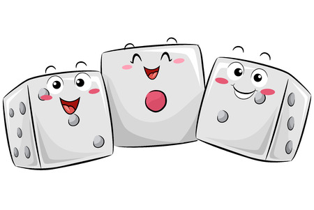 Mascot Illustration of a Group of Happy Dice Huddled Together to Demonstrate Statistical Probability Banco de Imagens