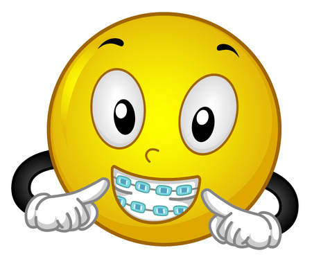 Mascot Illustration of a Happy Smiley in Colorful Braces Showing the Dental Work Done on Him