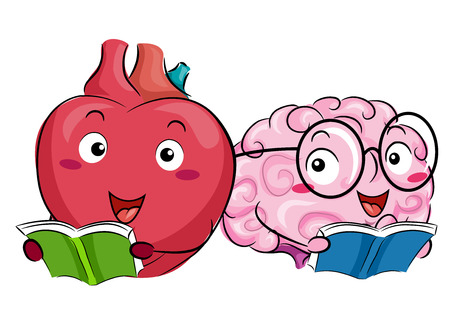 Mascot Illustration of a Happy Heart and a Brain Reading Books Together