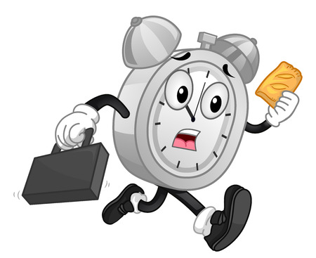 alarm clock: Mascot Illustration of a Panicking Analog Alarm Clock Eating a Piece of Pie While Running