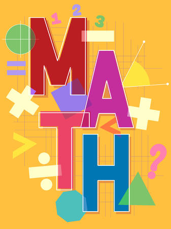 sign equals: Typographical Illustration Featuring the Word Math Surrounded by Different Mathematical Symbols Stock Photo