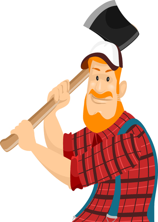 Illustration of a Bearded Caucasian Lumberjack in a Cap and Plaid Shirt Swinging an Axe Stock Photo