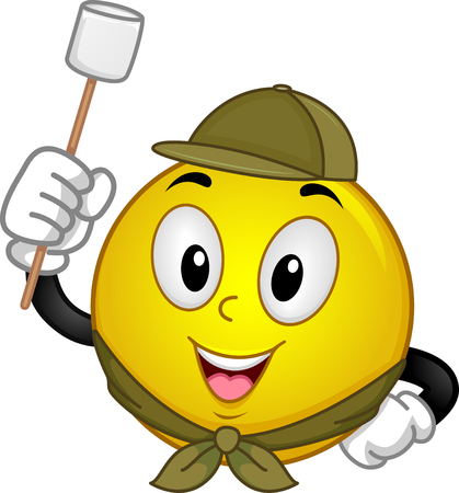 scouting: Mascot Illustration of a Happy Smiley in Scouting Uniform Holding a Marshmallow on a Stick