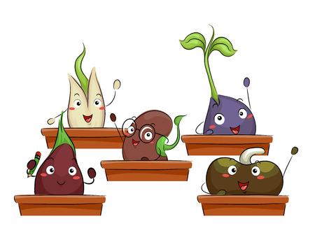 germinación: Con un grupo de felices plántulas Ilustración colorido Asistir a una clase agrícola