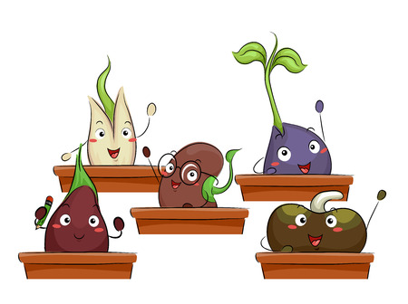 Colorful Illustration Featuring a Group of Happy Seedlings Attending an Agricultural Class