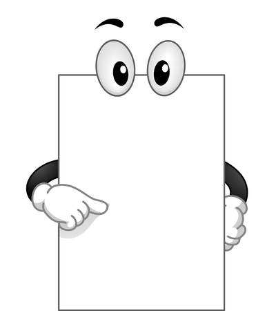 googly: Mascot Illustration of a Blank White Board with Googly Eyes Pointing to Itself