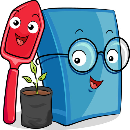 beside: Mascot Illustration of a Happy Shovel and a Blue Book Standing Beside a Seedling