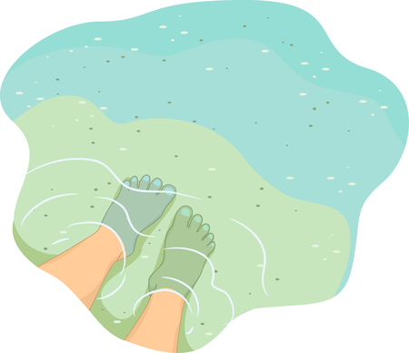submerged: Cropped Illustration of a Pair of Feet Submerged in Shallow Waters with the Bottom Visible from Above Stock Photo