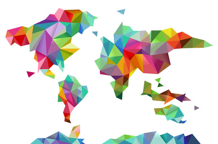 Colorful Illustration of a World Map Made of Different Geometric Shapes