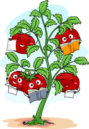 Colorful Illustration Featuring Happy Red Tomato Mascots Reading Books