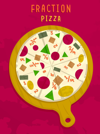 divide: Mathematical Illustration of a Pizza Pie in a Pan with Numerical Fractions for Toppings Stock Photo