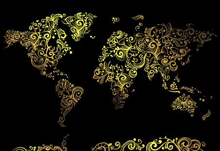 artsy: Artsy Illustration Featuring a World Map Made of Artsy Golden Vines Set Against a Black Background Stock Photo