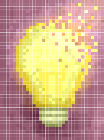 brightly: Conceptual Illustration Featuring the Mosaic of a Large Incandescent Bulb Made of Brightly Colored Pixels