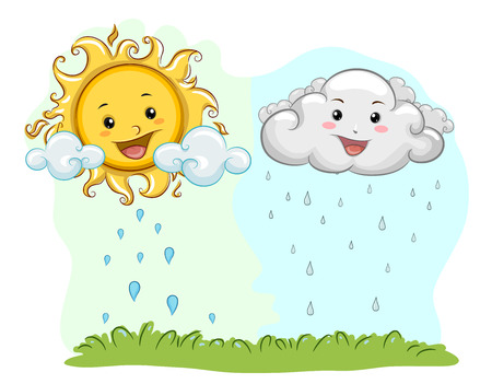 Colorful Illustration of a Happy Sun and Cloud Mascot Alternately Nourishing a Patch of Grass