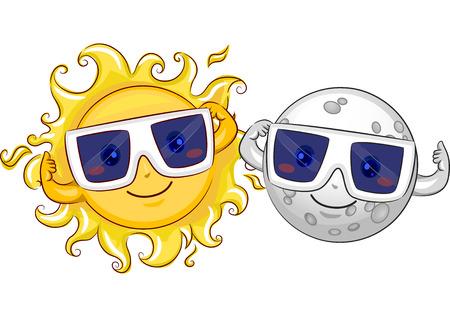Maskot ilustrace šťastné Slunce a Měsíce ochranné brýle v rámci přípravy na zatmění Slunce