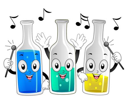xilofono: Ilustración de la mascota de un Botellas de vidrio Grupo de Feliz Tapping palillos en contra de sus lados para producir sonidos musicales Foto de archivo
