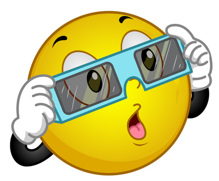 Mascot Illustration of a Happy Smiley Wearing Protective Glasses in Preparation for Watching an Eclipse