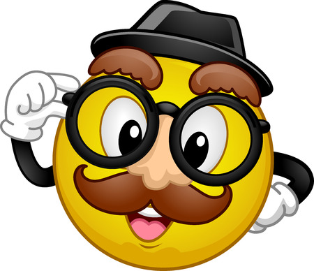 fake nose and glasses: Mascot Illustration of a Happy Smiley in Disguise Wearing a Fedora Hat, a Pair of Glasses, and a Fake Moustache