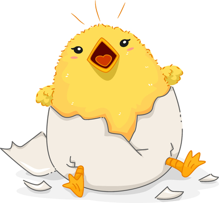 incubation: Illustration of a Cute Yellow Chick Peeping Loudly After Emerging from a Newly Hatched Egg