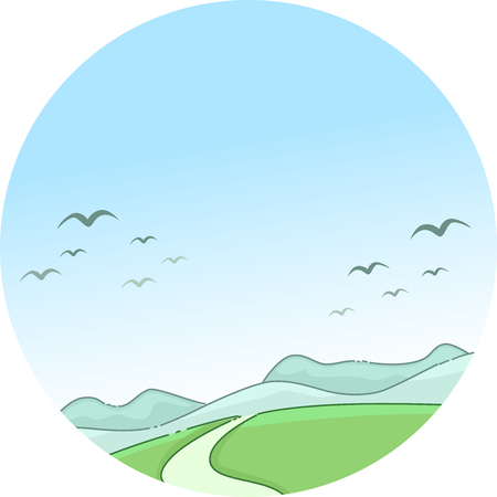 migratory: Whimsical Illustration of a Scenic Mountain Framed by Migratory Birds Flying Against a Clear Blue Sky