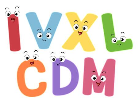 numeros romanos: Ilustración colorido que ofrece las mascotas sonrientes Representación de los números romanos Foto de archivo